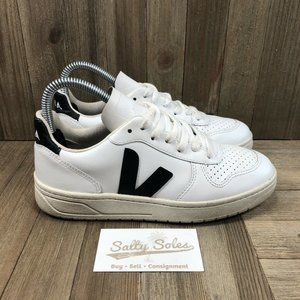 Veja V-10 Leather Lace Up Sneakers Shoes White/Black Womens Size 5